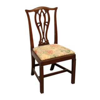 Ornate Floral Upholstered Wooden Seat Chair For Sale