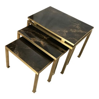 Vintage Set of Bronze Nesting Table Lefevre for Maison Jansen
