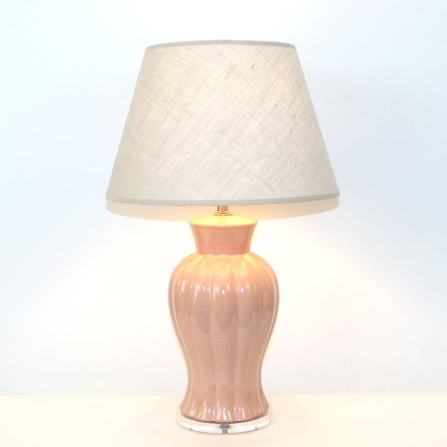 Art Deco Revival Pink Crackle Glaze Lamps - Pair - Image 6 of 6