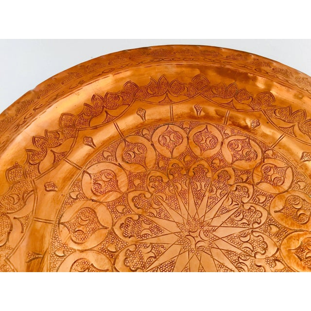 Moroccan Polished Round Metal Copper Tray For Sale - Image 9 of 12