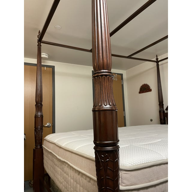 Wood Bombay Company Mahogany Four Poster Bed With Canopy For Sale - Image 7 of 10