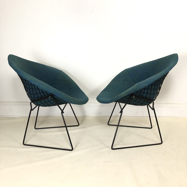 Knoll Harry Bertoia Diamond Chair for Knoll / Girard Fabric -A Pair For Sale - Image 4 of 10