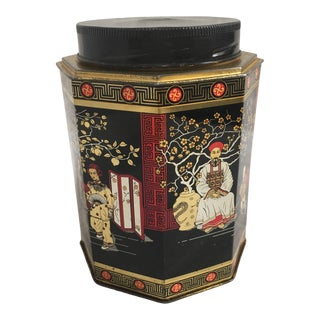 1980's Octagonal English Chinoiserie Tea Tin For Sale