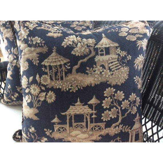 Ralph Lauren Pillows in Silk Road Black & Taupe Velvet Toile - A Pair - Image 2 of 3