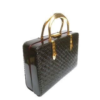 Rodo Italy Sleek Black Wicker Box Purse C 1970 For Sale