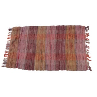 Swedish Hand-Woven Rag Rug - 2′4″ × 4′1″ For Sale
