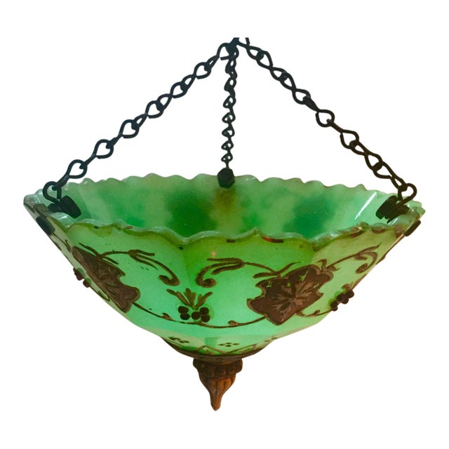 Moroccan Gilted Jadeite Glass Hanging Votive - Image 1 of 8