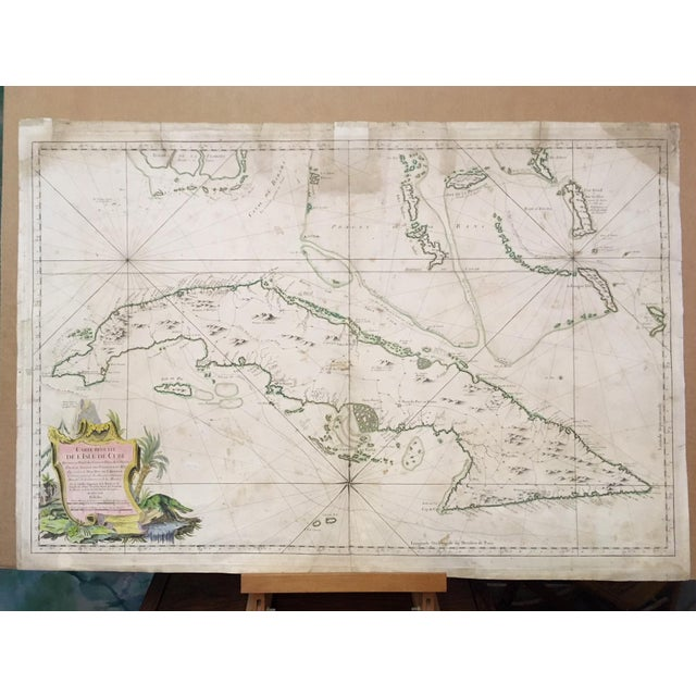 1762 Map of Cuba and the Florida Keys with Hydrographic Details. Including inlets, soundings, anchorages, routes of...