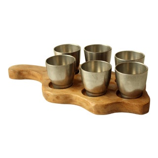 Noble Tin Liqueur Cups With Wooden Tray - 7 Pc. Set For Sale