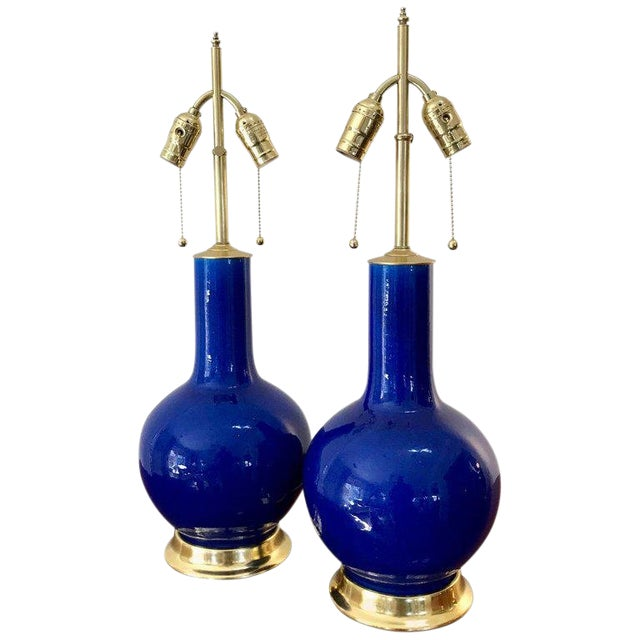 Blue Porcelain on 23-Karat Water Gilt Base Table Lamps - a Pair For Sale