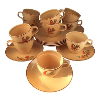 French Country Style Coffee Cups & Saucers - Set of 10