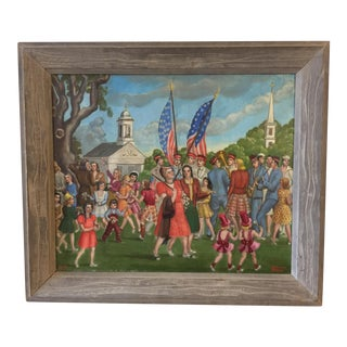 Painting of a Patriotic Parade on a New England Village, 1940s For Sale