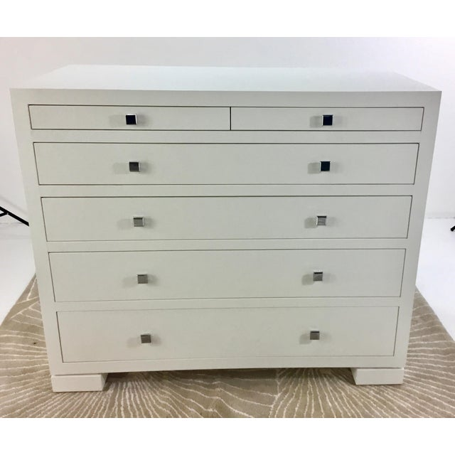 Stylish modern, contemporary Bungalow 5 White Frances six drawer white chest wrapped in grass cloth with clean line nickel...