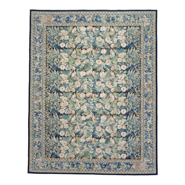 """Pasargad Aubusson Hand-Woven Wool Rug- 8' 2"""" X 9'10"""" For Sale"""
