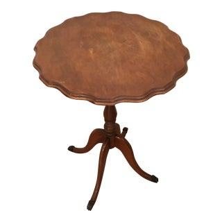 1950s English Traditional Round Wooden Side Table