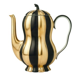"""Melon"" Mocca Pot by Josef Hoffmann Black & Gold For Sale"