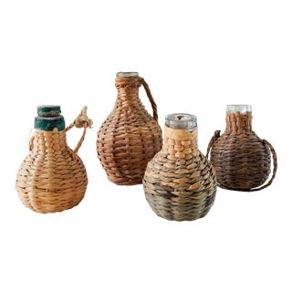 Antique Collection of Tiny Wicker Covered Perfume Bottles - Set of 4 For Sale