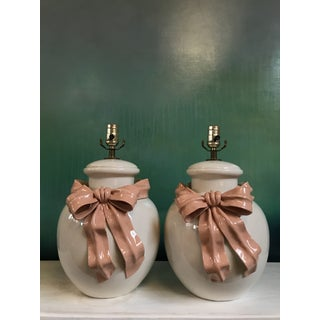 Vintage Ginger Jar Form Lamps With Pink Swag and Bows Preview