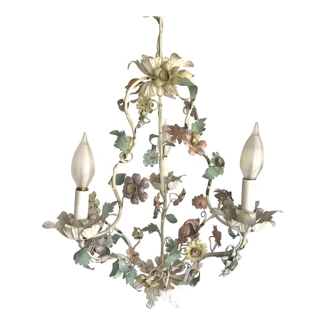 Vintage Tole Pastel Floral 3 Light Chandelier - Image 1 of 5