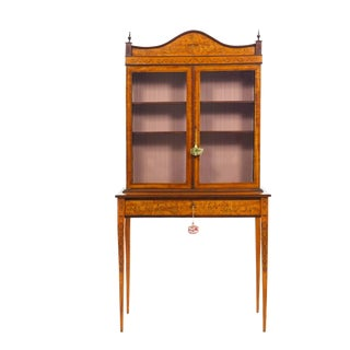 English George III Inlaid Satinwood Antique Bookcase Cabinet on Stand Circa 1800 For Sale