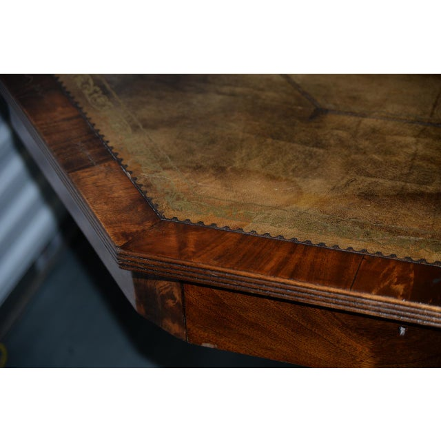 19th Century Mahogany & Embossed Leather Octagonal Rent Table For Sale In San Francisco - Image 6 of 10