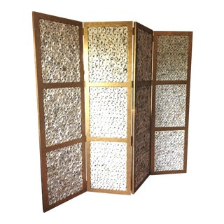 Currey & Company Gold Oyster Shell Screen For Sale