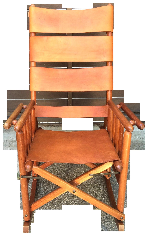 Mid Century Teak U0026 Leather Folding Rocking Chair