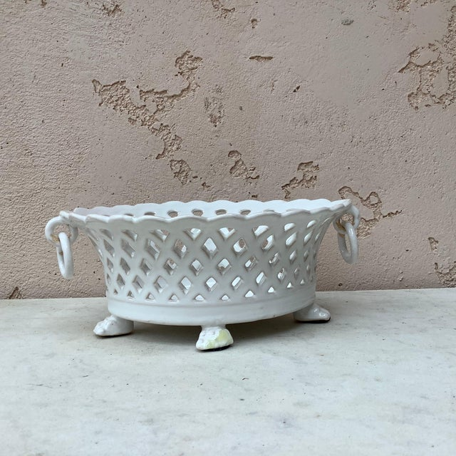 1920s French White Reticulated Basket Emile Tessier, circa 1920 For Sale - Image 5 of 9