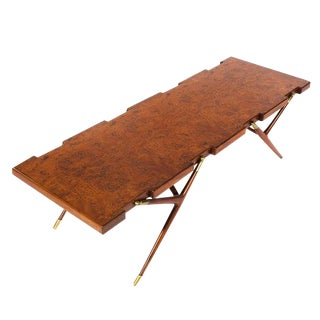 BURL WALNUT AND BRASS 1950S COFFEE TABLE BY ICO PARISI FOR SINGER AND SONS For Sale