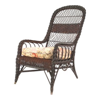 American Mission Dark Wicker Arm Chair For Sale