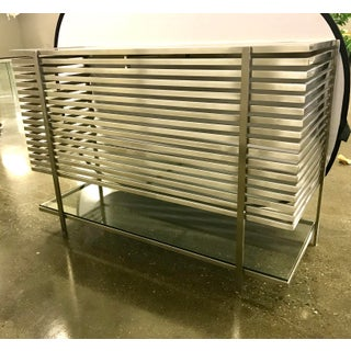 Modern Slatted Steel Chrome and Glass Dry Bar Preview