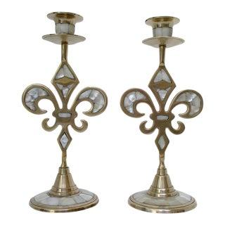 Brass Fleur de Lis Candlesticks - a Pair For Sale