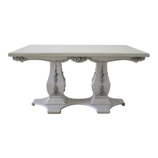 Vintage Rose Carved Double Pedestal Dining Table