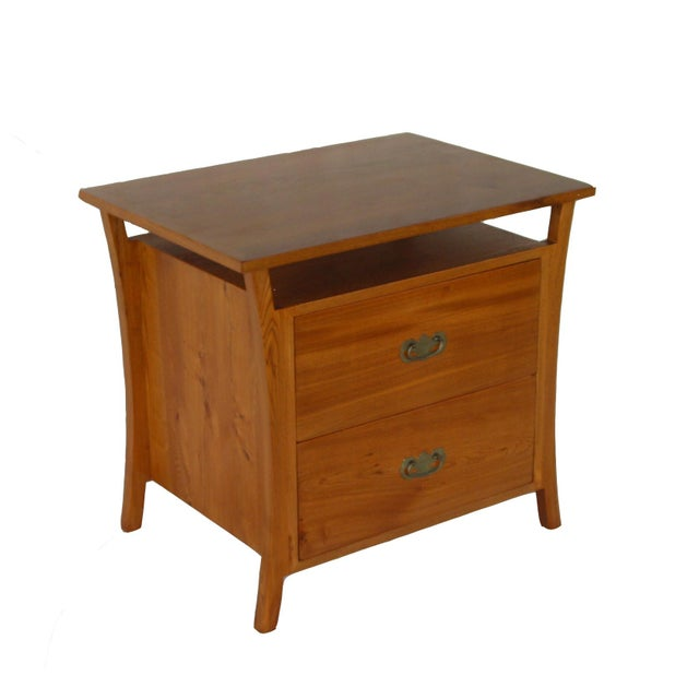 Asian Asian Style Elm Wood Nightstands For Sale - Image 3 of 5