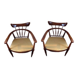 Handcrafted American Ash Captain Chairs - a Pair