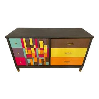 Mid-Century Modern Multi-Colored Funky Dresser 6 Drawers Original Hardware For Sale