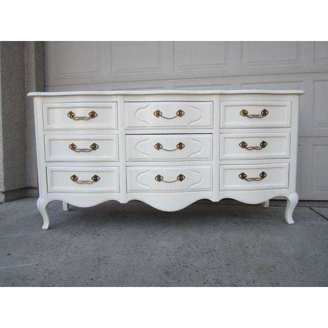 Drexel White Vintage French Country Dresser - Image 2 of 9