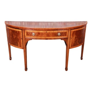 Antique Federal Banded Mahogany and Satinwood Demilune Sideboard, Circa 1900 For Sale
