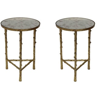 Contemporary Glostrup Round Metal Side Tables - a Pair For Sale