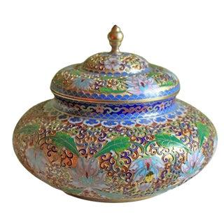 Ornate Cloisonne Lidded Bowl For Sale