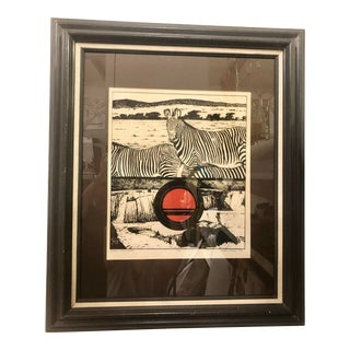 "1977 Framed ""Zebra, Circle, Water"" Signed Print For Sale"
