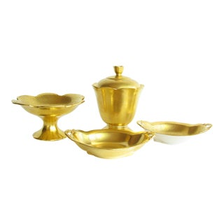 Vintage Collection of Gilded American Pickard Serving Dishes - Set of 4 For Sale