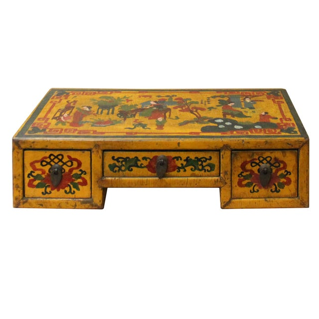 Lacquer Chinese Yellow Lacquer Graphic Table Top Stand Display Easel For Sale - Image 7 of 9