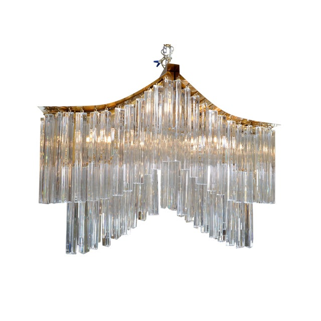 Pagoda Chandelier in Crystal and Brass For Sale