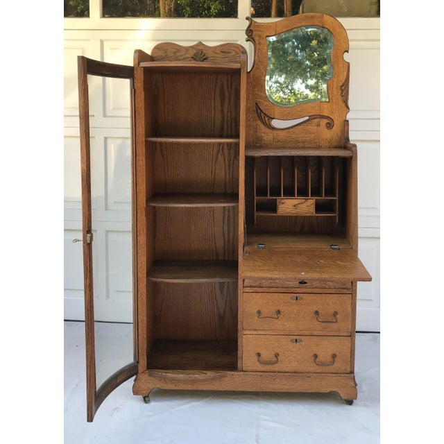 Art Deco Vintage Wooden Vanity With Storage and Secretary Desk For Sale - Image 3 of 13