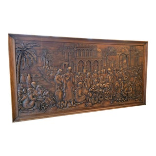 Circa 1940s Italian Arabic Figurative Wood Carved Panel For Sale