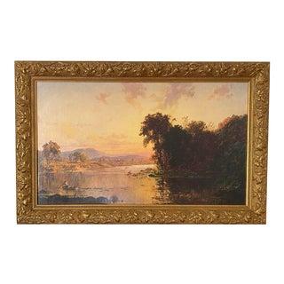 "Jasper Francis Cropsey ""Fisherman in Autumn Landscape"" Fine Art Canvas Giclee Print Framed For Sale"