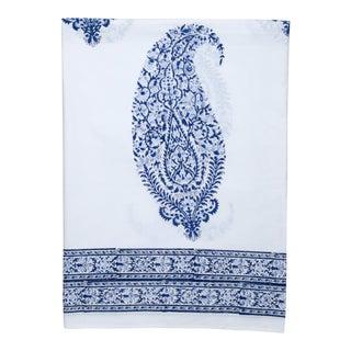 Malabar Large Paisley Flat Sheet, King - Deep Blue For Sale