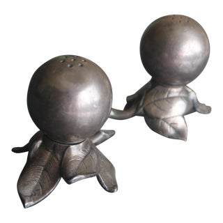 Vintage Pewter Salt and Pepper Shakers - a Pair For Sale
