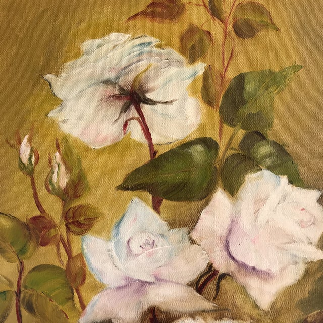 Vintage Blooming White Roses Framed Oil Painting For Sale - Image 5 of 10